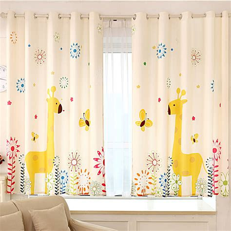 fancy giraffe yellow poly cotton nursery curtains