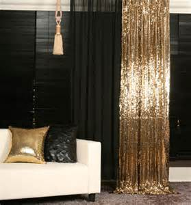 Rideau Style Baroque by Handmade Gold Sequins Drop Curtain Decorative Metallic