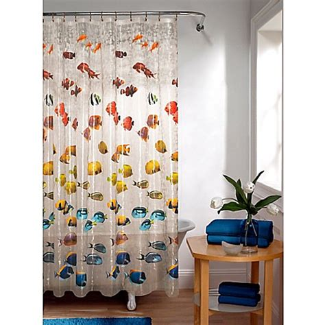 fish shower curtain embossed new school fish peva shower curtain bed bath
