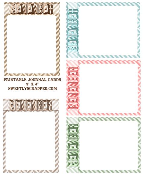 sweetly scrapped  printable remember journal cards