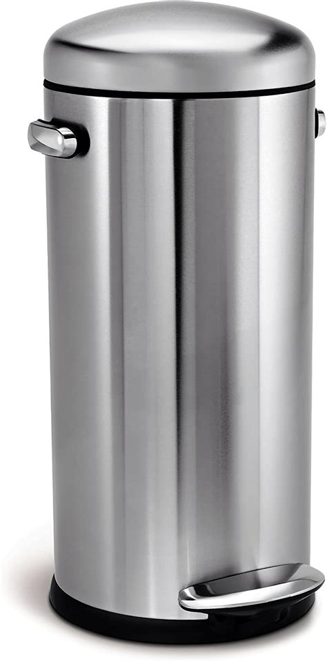 simplehuman  litre retro pedal bin brushed stainless steel  kitchen accessories