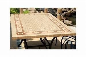 Table De Jardin Mosaique : table mosa que en pierre toscane de jardin en fer forg marbre rouge et travertin ~ Teatrodelosmanantiales.com Idées de Décoration