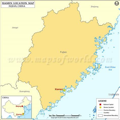 xiamen located location  xiamen  china map