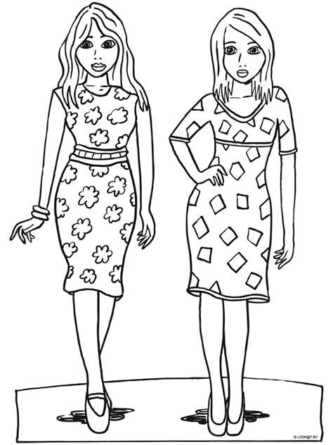 Kleurplaat Meisje Met Jurk by Kleurplaat Meiden Met Mooie Jurken Kleurplaten Nl