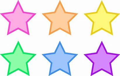 Stars Pastel Clip Six Rainbow Colored Sweetclipart