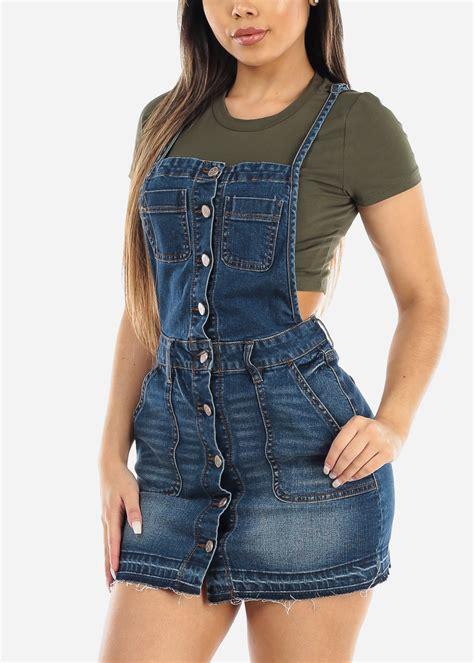 Moda Xpress - Womens Sleeveless Denim Overall Dress Button ...
