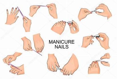 Pedicure Manicure Nails Hands Feet Illustration Positions
