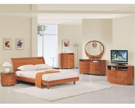 modern bedroom set elma  cherry finish