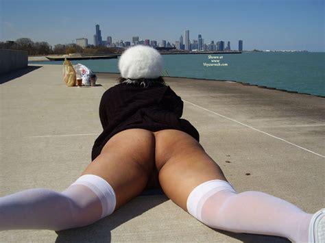 Bottomlesss Lying On Pier April Voyeur Web Hall