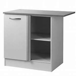 Meuble Bas Cuisine Blanc : meuble bas d 39 angle 100 cm smarty blanc ~ Teatrodelosmanantiales.com Idées de Décoration
