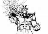 Thanos Coloring Pages Comic Easy Avengers Printable Children Marvel Hulk Super Hand sketch template