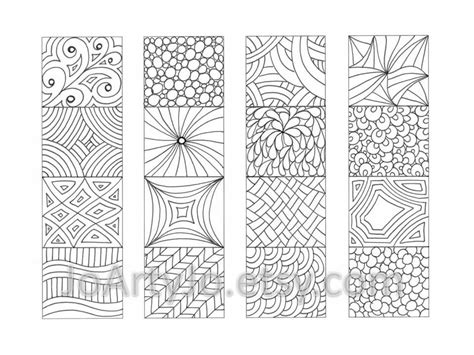 Color Your Own Bookmarks Zentangle Inspired Printable от