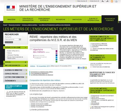 repertoire chambre des metiers un répertoire des métiers lancement le 16 novembre 2011