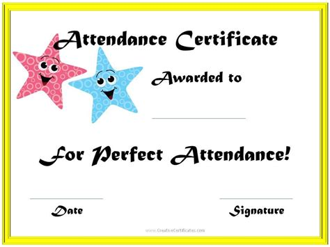 printable perfect attendance certificate templates