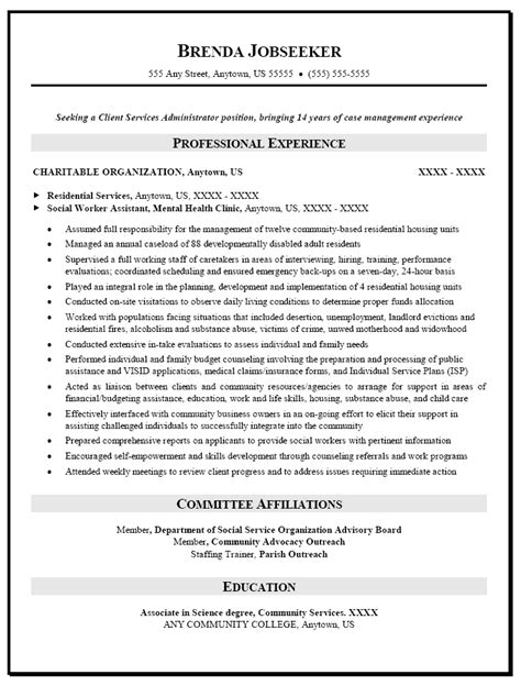 Msw Resume Format by Sle Social Worker Assistant Resume Template Format Free