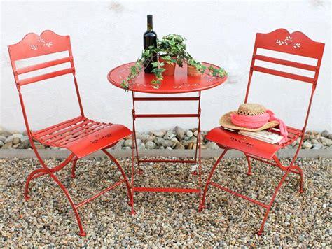 Gartenstühle Mit Tisch by Sitzgruppe Tisch Mit 2 St 252 Hle Set Aus Metall Rot
