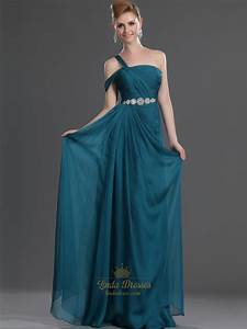 Teal Chiffon One Shoulder Beaded A-Line Prom Dresses With ...