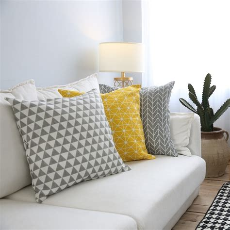 grey sofa throw pillows aliexpress com buy yellow geometric decorative cushion