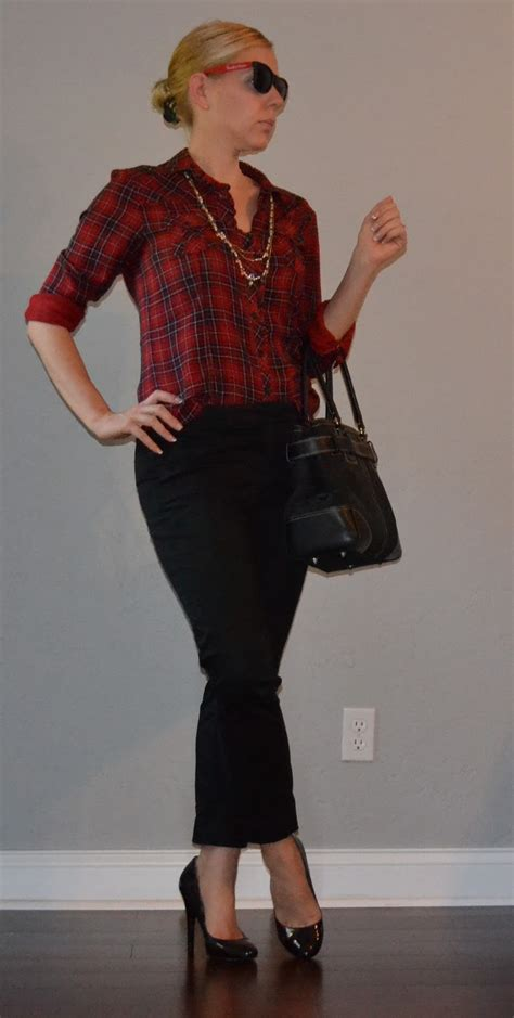 Outfit post red plaid shirt u0026 black cropped pants