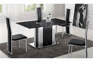 emejing salle a manger noir et blanc pas cher contemporary With salle À manger contemporaineavec chaises colorees pas cher