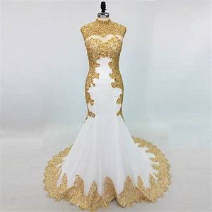 Long Evening Prom Dress Mermaid 2019 Beading Crystal Gold ...
