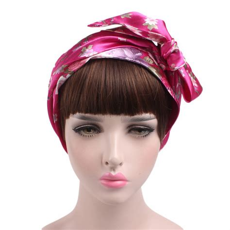 ladies satin bow headscarf turban hijab soft sleeping