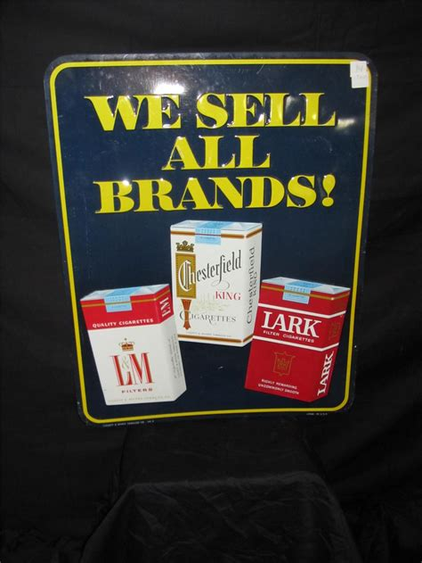 1950s Chesterfield 'we Sell All Brands' Embossed Tin Sign