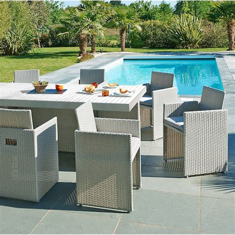 salon de jardin mediterran 233 e r 233 sine tress 233 e gris 1 table 8 fauteuils leroy merlin