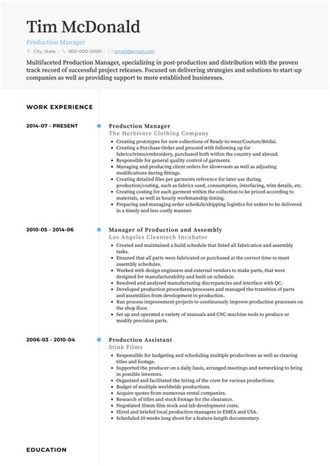 The production manager resume uses a paragraph summary and lists several management qualifications such as operations, manufacturing, production, engineering, strategic planning, cost reduction and process analysis. Production Manager - Resume Samples and Templates | VisualCV