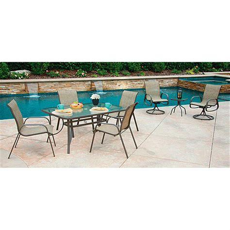 shale patio 8 piece castlecreek shale island patio dining set 624351 patio furniture at sportsman s guide