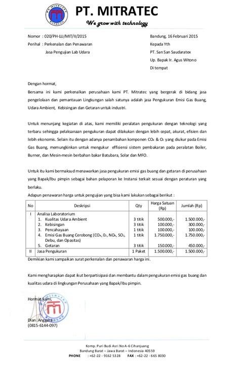 perkenalan  penawaran harga lab udara pt san san