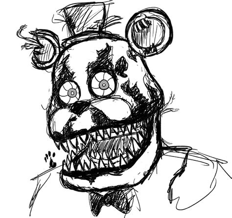 disegni da colorare animatronics nightmare freddy sketch by springaling on deviantart