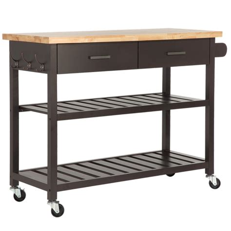 kitchen island with cutting board top homegear deluxe kitchen storage cart island w rubberwood