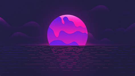 Wallpaper Sunset, Neon, Purple, Hd, Creative Graphics, #12028