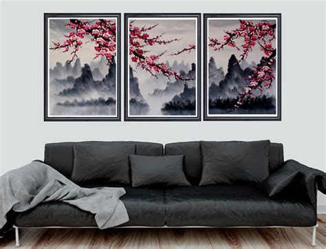 Cherry blossom poster wall art viewing spring flowers home decor 5p canvas print. Cherry blossom art Cherry blossom wall mural cherry by Loft817