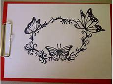Как нарисовать узор с бабочкими Ускоренная сьемка