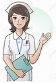 Young Nurse Guiding Information With The Hand Royalty Free ...