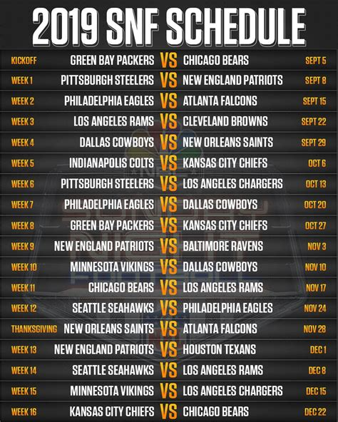 nfl schedule   sunday night football games