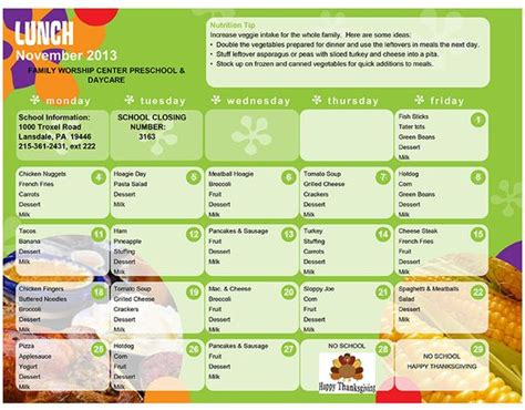 daycare lunch menu preschool lunch menu lansdale day 392 | eb0e3dc082d66557b516221aa1000499