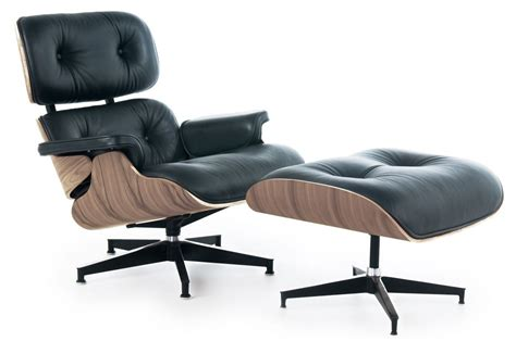eames style lounge chair and ottoman black leather walnut wood