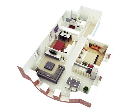 25 More 2 Bedroom 3D Floor Plans House plans with