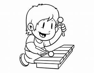 Dibujo de Niño con xilófono para Colorear - Dibujos.net