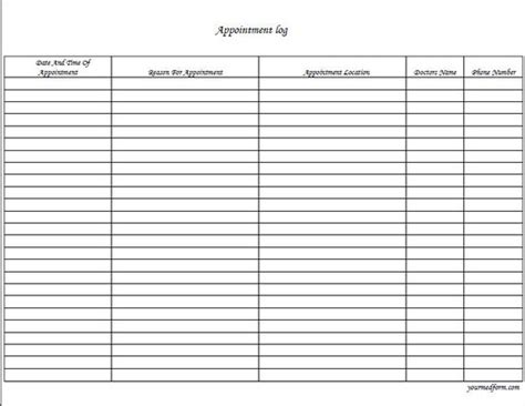 fillable appointment log  digital health forms