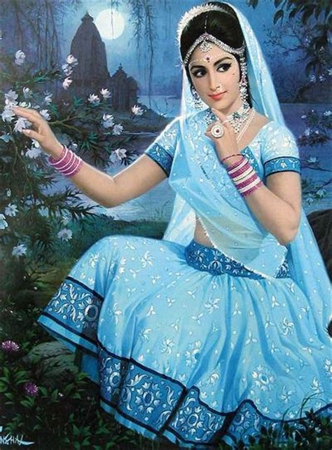 indian woman beautiful painting