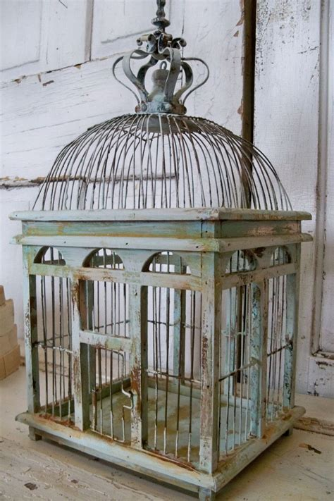 blue sea foam bird cage distressed rustic metal wood