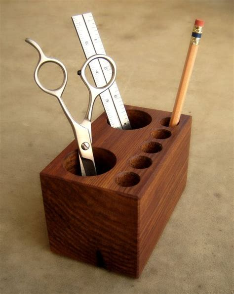 office desk caddy  holder solid wood