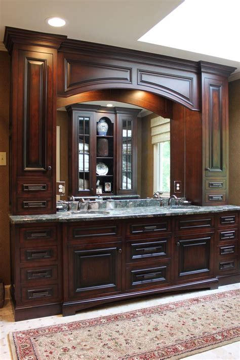 custom built double vanity   cabinet towers
