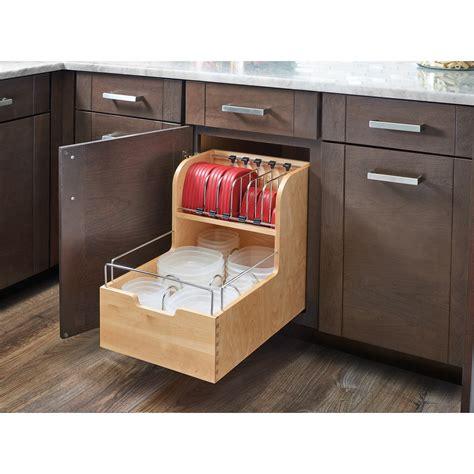 rev  shelf wood food storage container organizer  base