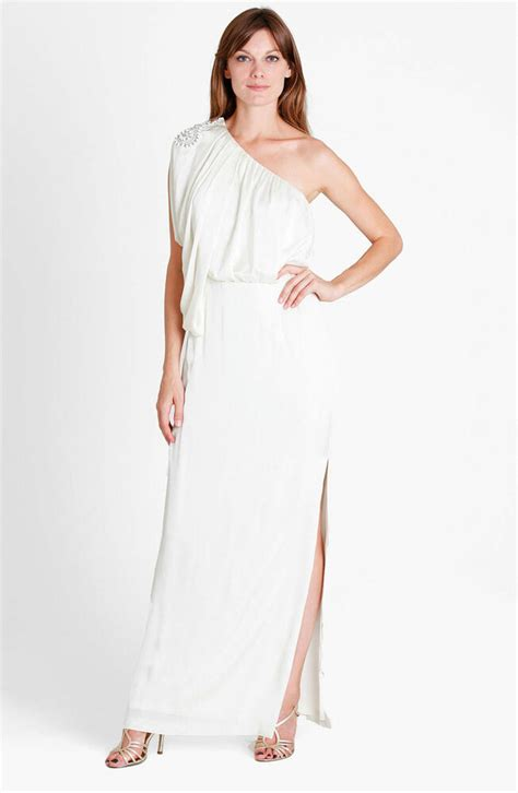 new js collections draped one shoulder blouson dress gown