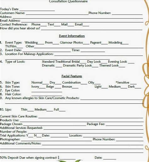 esthetician forms makeup consultation form template mugeek vidalondon